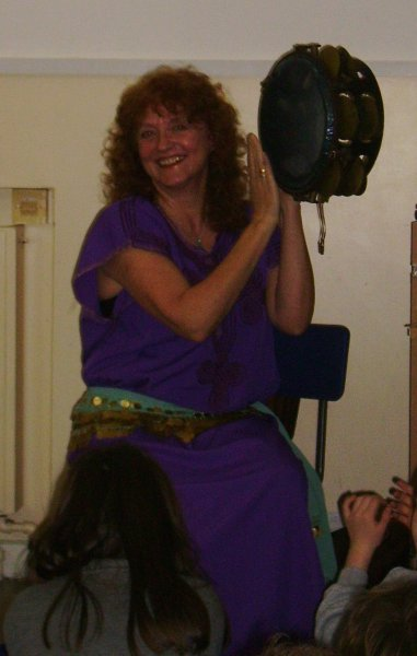 Playing Egyptian Tambourine