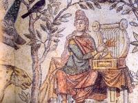 David playing harp